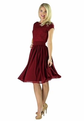 """""""Isabel"""" Modest Dress in Deep Red"""