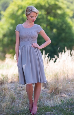 """Isabel"" Modest Dress in Light Gray"