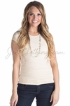 Jen/KneeShorts Basic Cap Sleeve Shirt in Cream