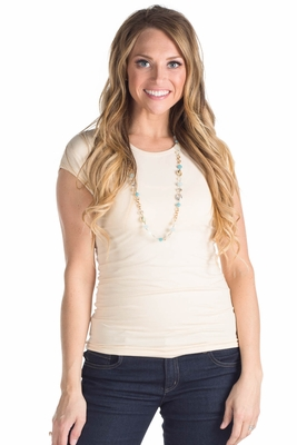 Modest Layering Cap Sleeve Shirt in Cream