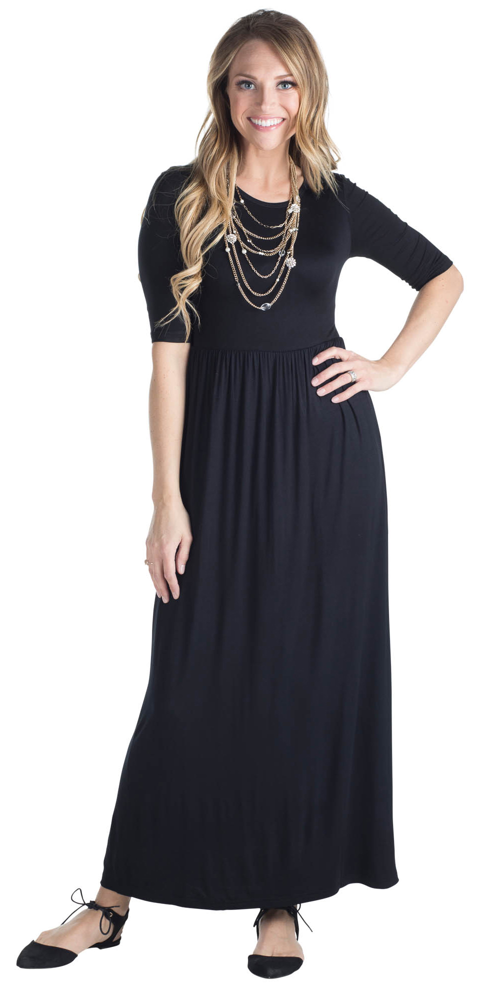 d651e3f18e43 JenClothing Half Sleeve Modest Maxi Dress in Black