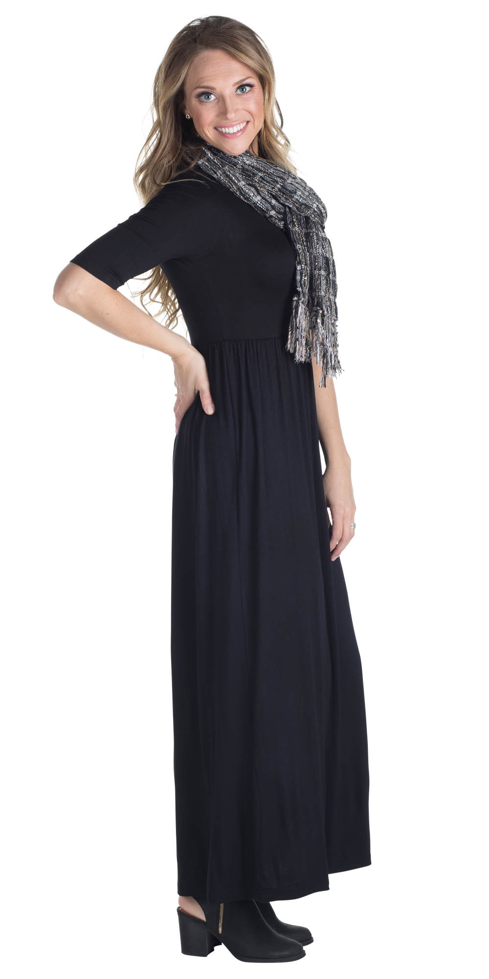 4fd4f55ecc5f Jen Modest Maxi Dress with Half Sleeves in Black ...