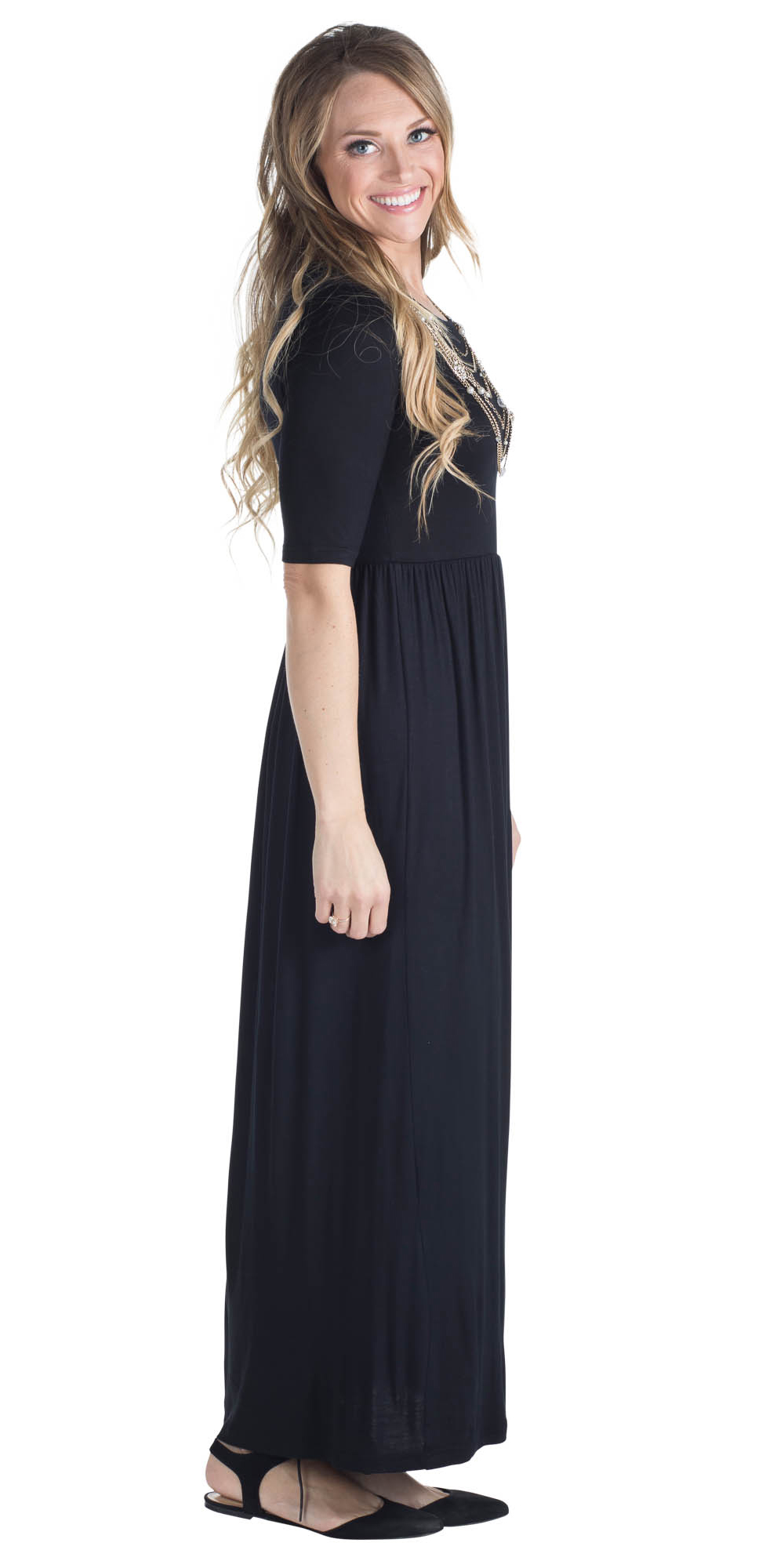 192988b55ea0 ... Jen Modest Maxi Dress with Half Sleeves in Black