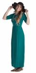 Jen Modest Maxi Dress with Half Sleeves in Deep Lake Teal