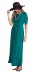 Jen Modest Maxi Dress with Half Sleeves in Deep Lake Teal *RESTOCKED*