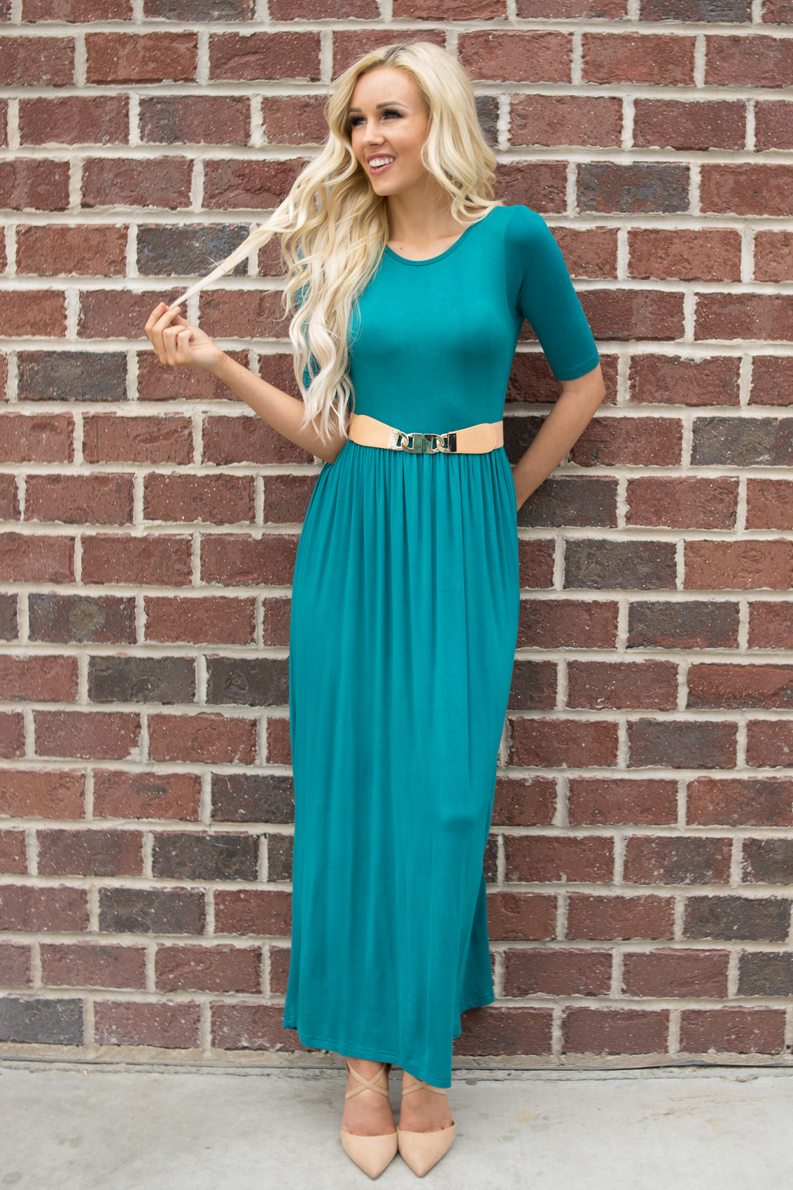 40945b407128 JenClothing Half Sleeve Modest Maxi Dress in Deep Lake Teal