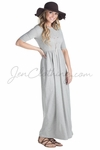 Jen Modest Maxi Dress with Half Sleeves in Heather Grey