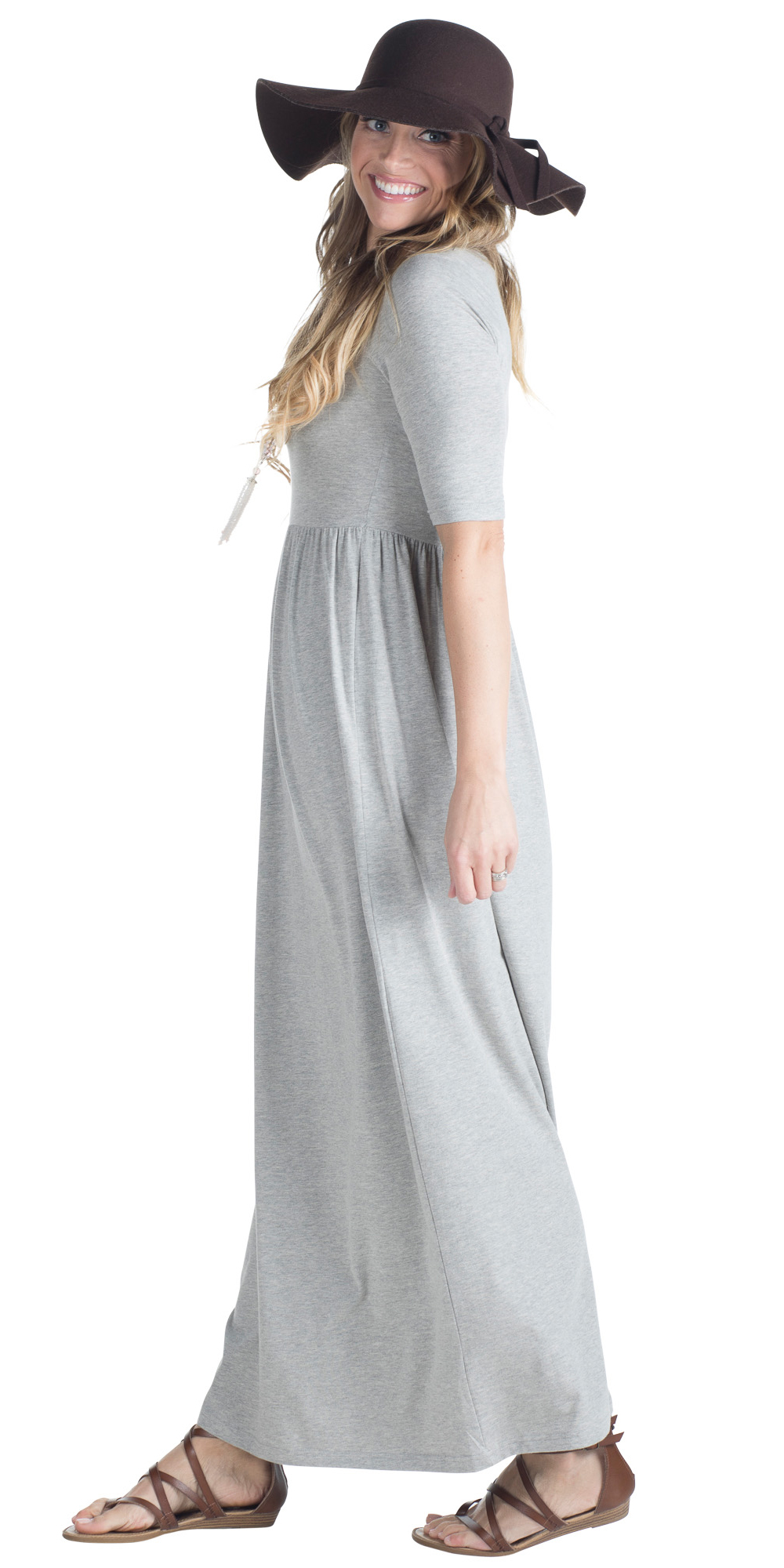8a3677624f71 JenClothing Half Sleeve Modest Maxi Dress in Heather Grey