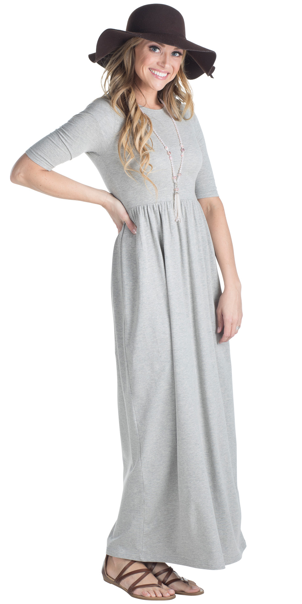 7aa980623616 ... Jen Modest Maxi Dress with Half Sleeves in Heather Grey ...