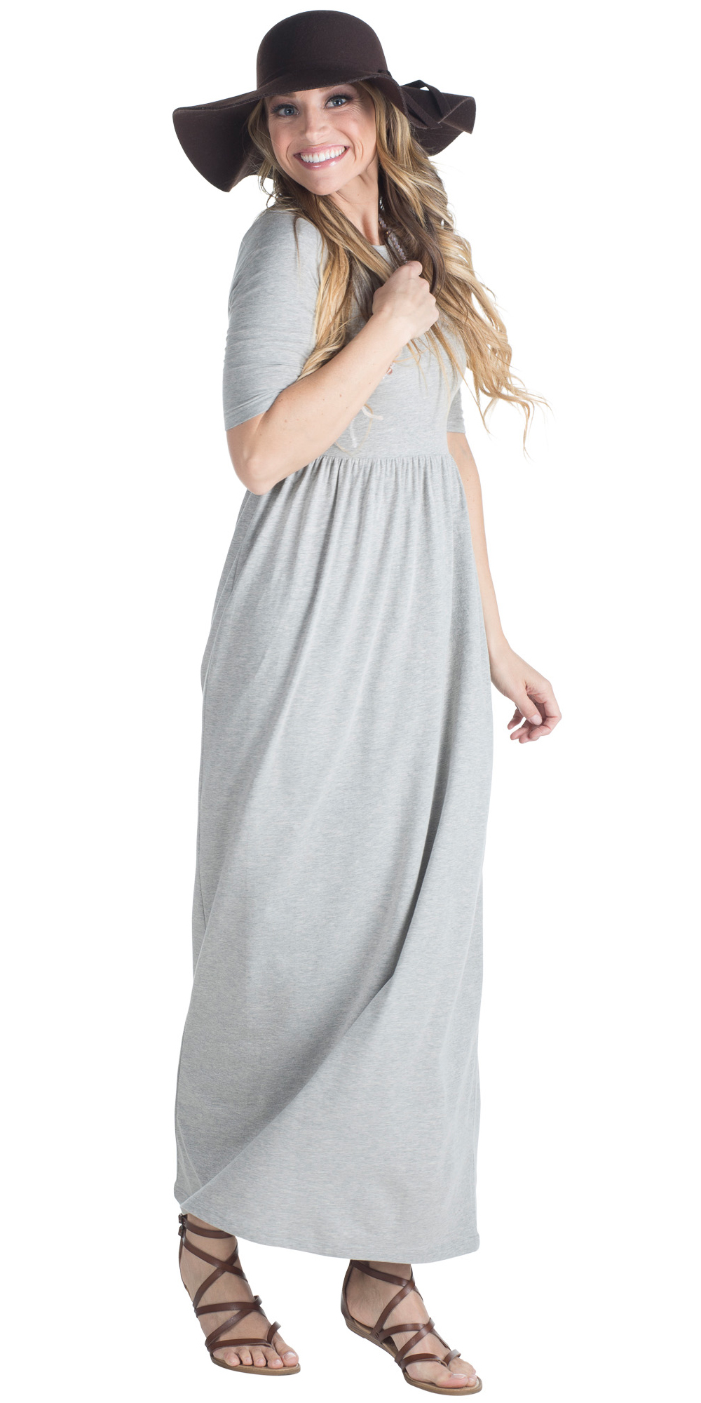 e7dffaa07dd0 ... Jen Modest Maxi Dress with Half Sleeves in Heather Grey