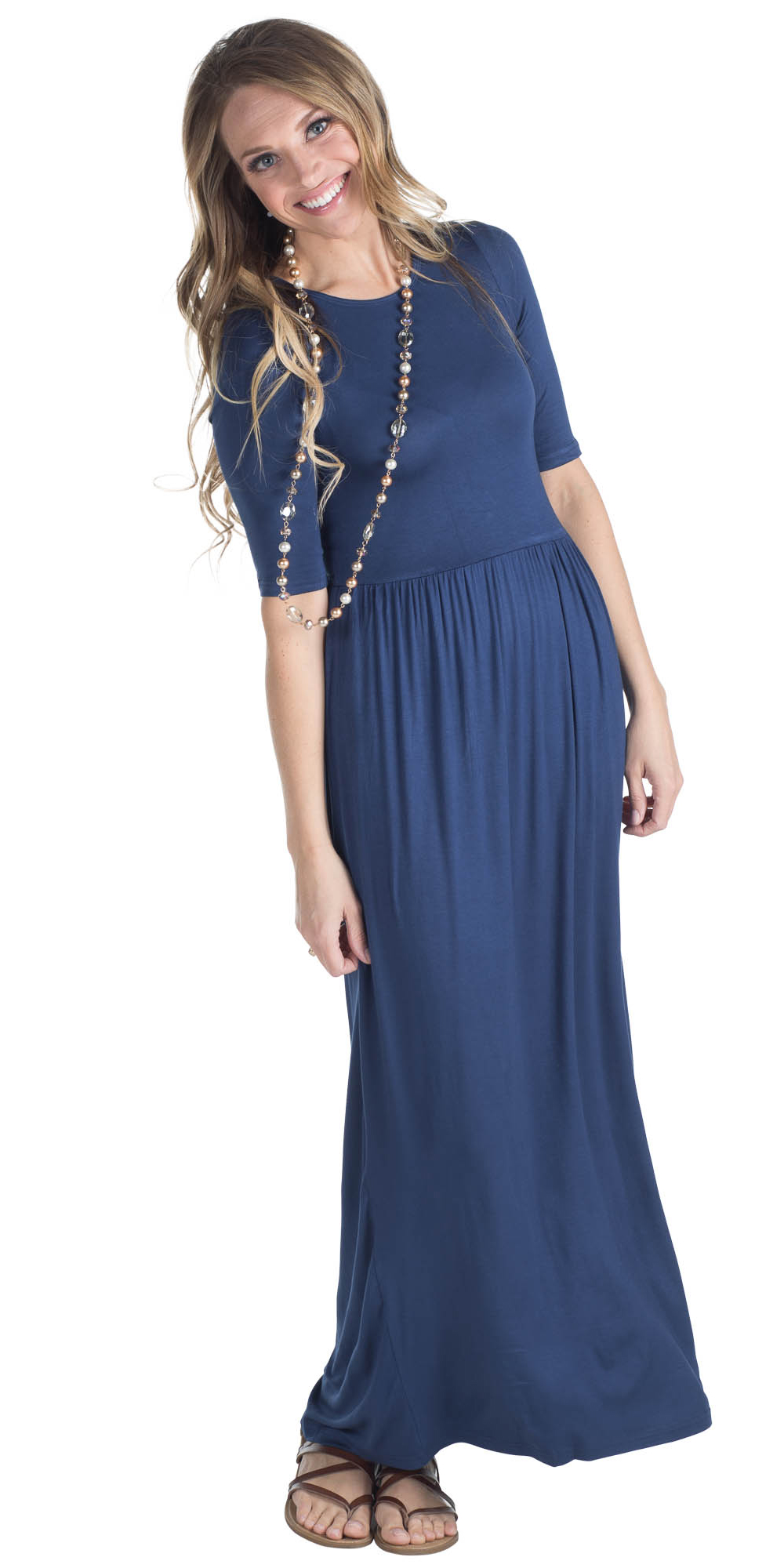 4787cf9c1f9d JenClothing Half Sleeve Modest Maxi Dress in Navy Blue