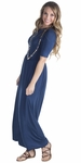 Jen Modest Maxi Dress with Half Sleeves in Navy Blue