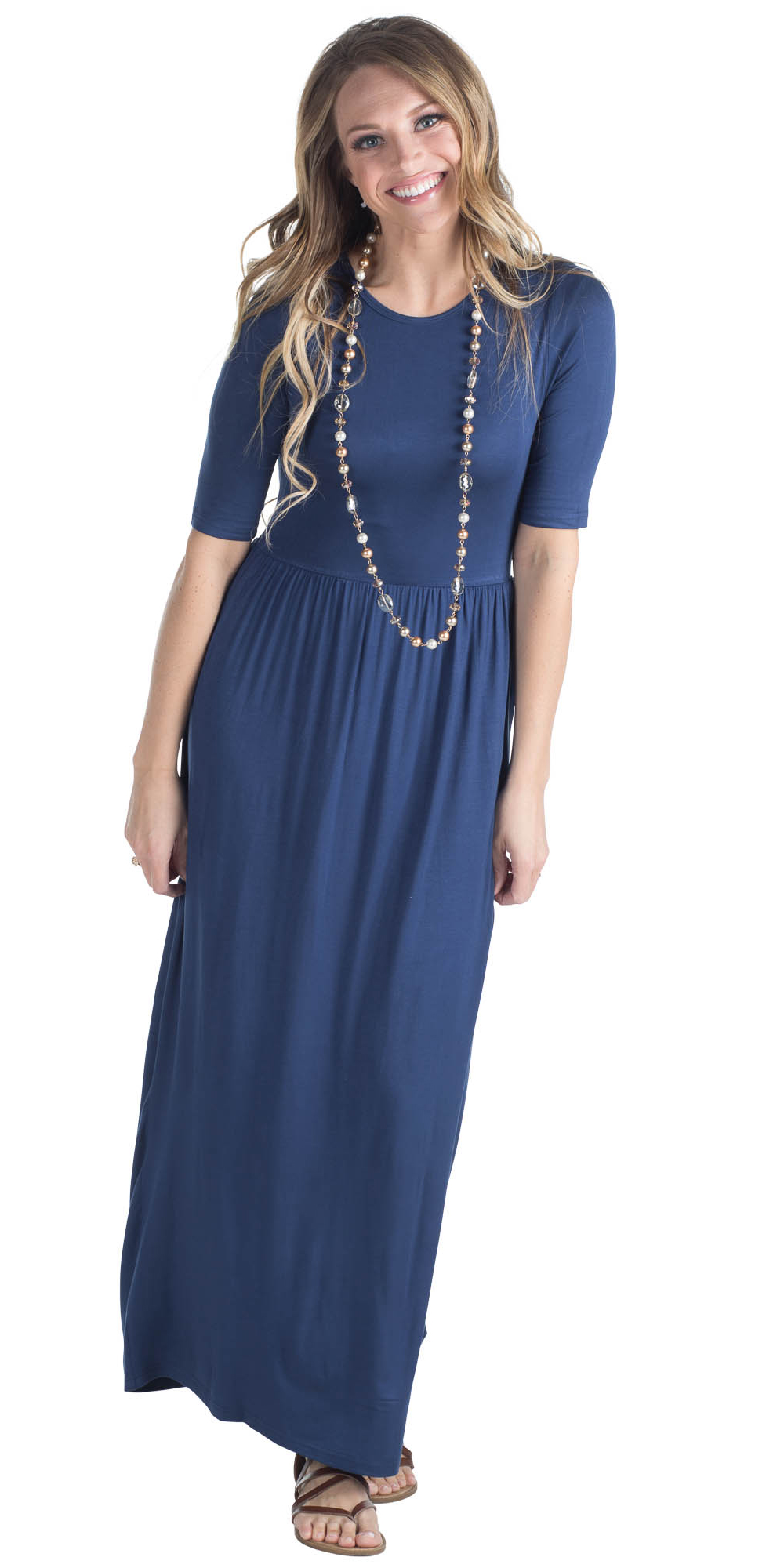 a7d2b2b19194 ... Jen Modest Maxi Dress with Half Sleeves in Navy Blue