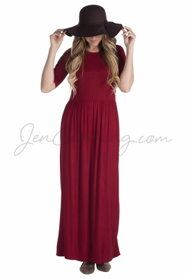 Jen Modest Maxi Dress with Half Sleeves in Deep Red