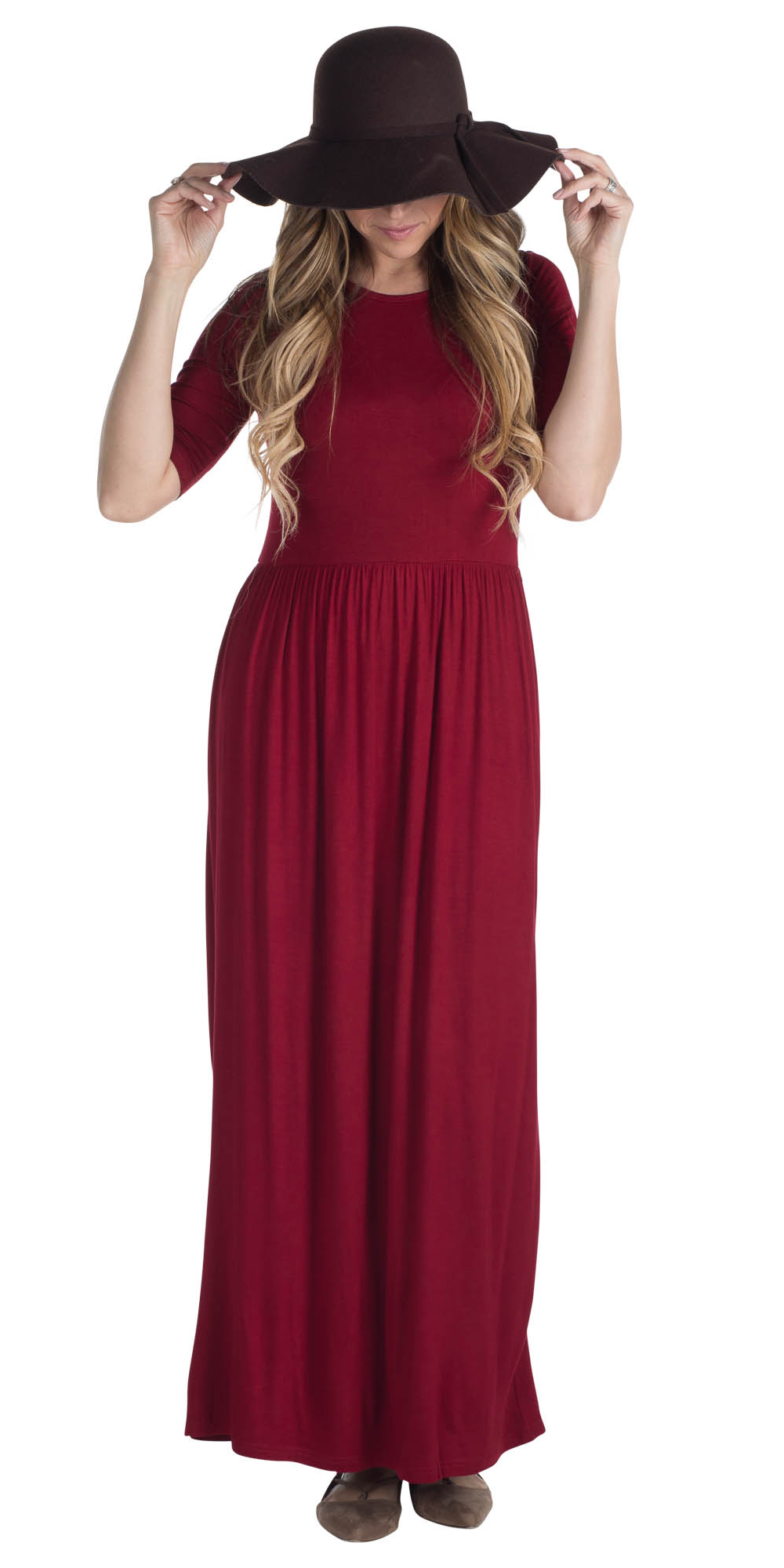 77e95d3c4e07 JenClothing Half Sleeve Modest Maxi Dress in Sun-Dried Tomato Red