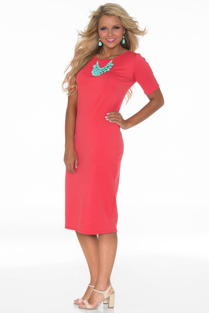 Jenclothing Modest Midi Length Fitted T Shirt Dress In Coral