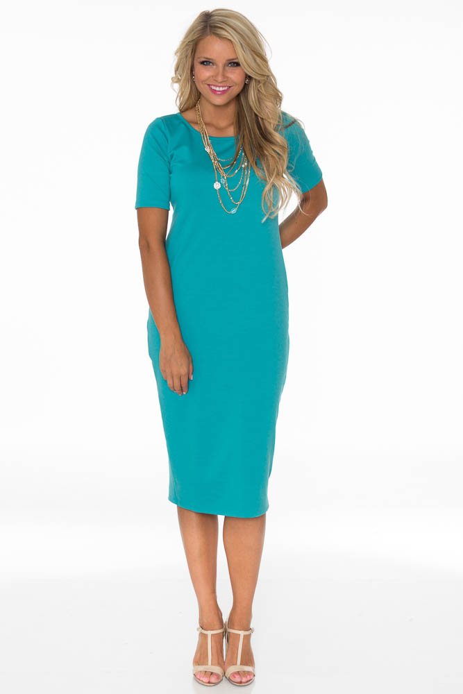 419f95cc34dc JenClothing Modest Midi-Length Fitted T-Shirt Dress in Emerald Teal