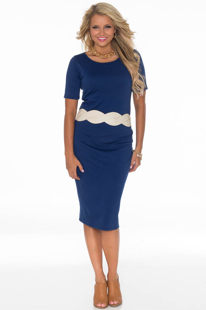 Jenclothing Modest Midi Length Fitted T Shirt Dress In