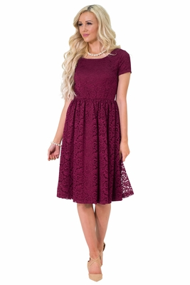 """Jenna"" Modest Lace Dress or Bridesmaid Dress in Burgundy / Cranberry *RESTOCKED*"