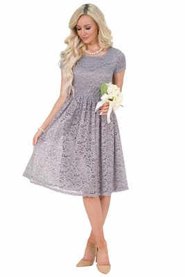 Jenna Modest Lace Dress, Modest Bridesmaid Dress in Gray or Silver