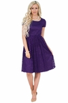 """Jenna"" Modest Lace Dress or Bridesmaid Dress in Regency Royal Purple *RESTOCKED*"