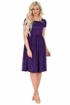 Jenna Modest Bridesmaid Dress in Royal Purple, Modest Lace Dress