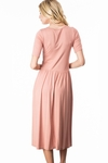 Jill Modest Midi Dress w/Pockets in Blush Pink