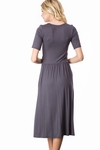Jill Modest Midi Dress with Pockets in Charcoal Gray