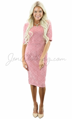 """""""June"""" Modest Dress in Bridal Blush Pink Lace"""