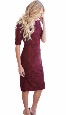 """June"" Modest Dress in Burgundy Lace *RESTOCKED*"