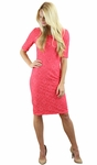 """June"" Modest Dress in Coral Lace"