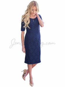 """June"" Modest Dress in Navy Blue Lace *RESTOCKED*"