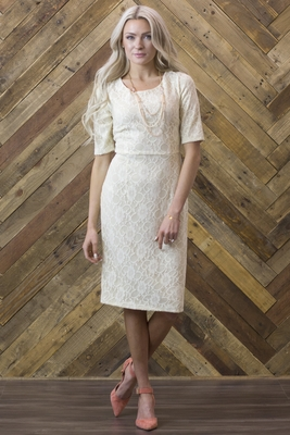 """June"" Modest Dress in Cream Lace"