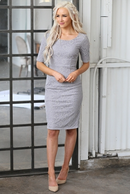 """""""June"""" Modest Dress in Grey Lace"""