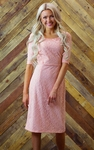 """June"" Modest Dress in Peachy Pink Lace"