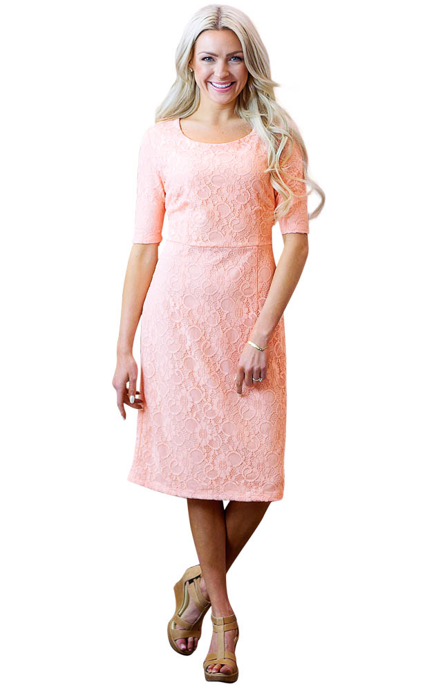June Modest Bridesmaid Dress In Peachy Pink Salmon Lace