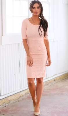 """""""June"""" Modest Dress or Bridesmaid Dress in Peach Lace"""
