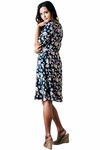 """Kaylee"" Modest Dress in Navy Blue w/Floral Print"