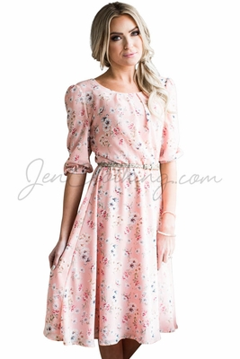 """Kaylee"" Modest Dress in Pink w/Floral Print"