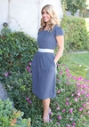 """Kelsey"" Modest Dress in Hale Navy (Light Navy Blue)"