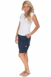 KneeShorts Women's Modest Cargo Shorts, Navy