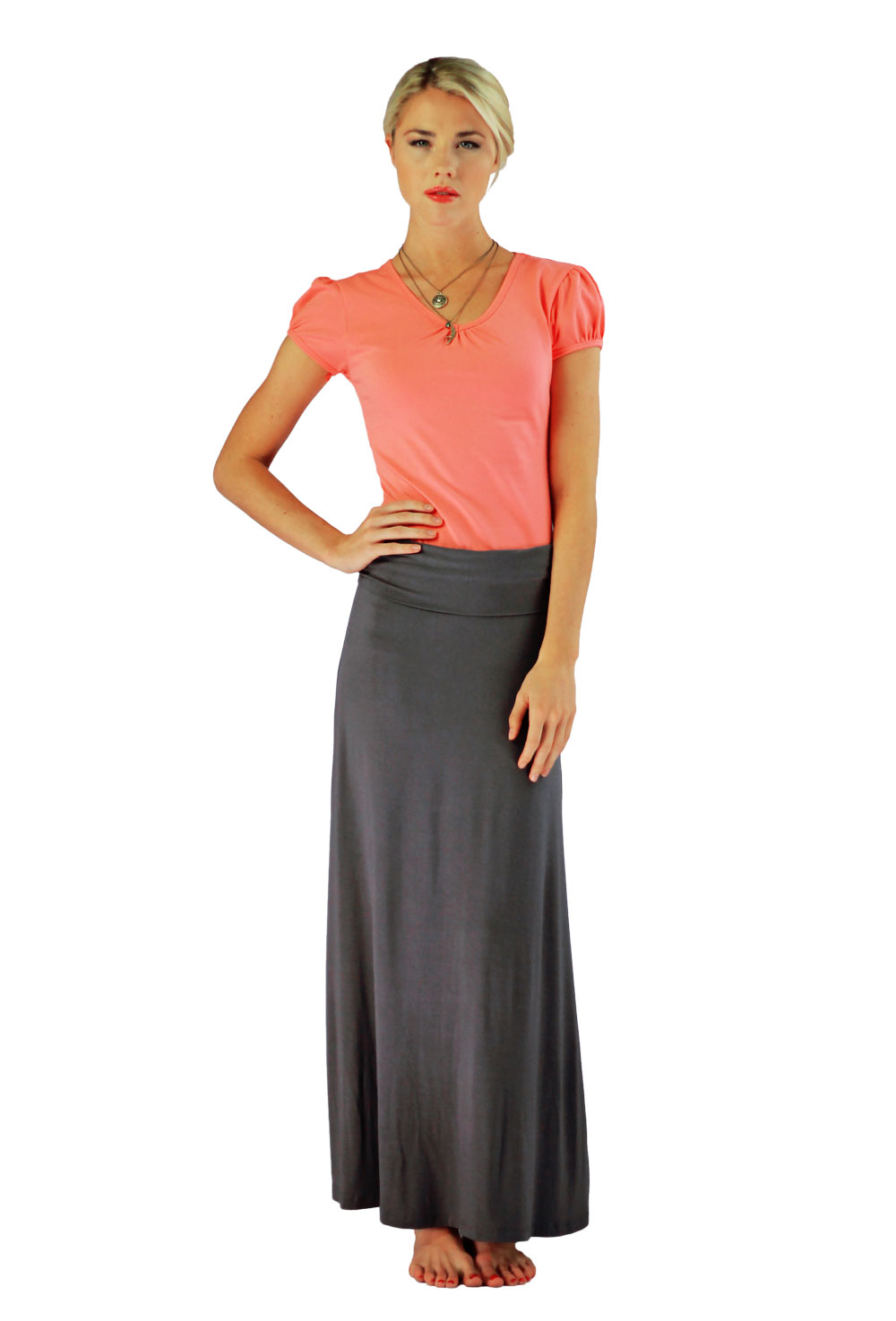 Modest Maxi Skirt in Dark Gray