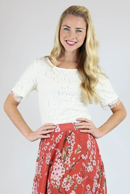 Lace Fringe Modest Blouse in Cream