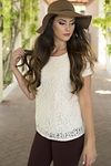 Lace Modest Top in Cream