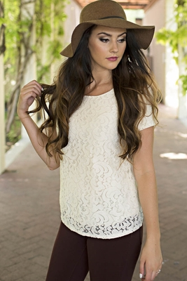 Modest Lace Blouse in Cream