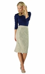 """""""Lace Panel"""" Modest Skirt in Light Taupe"""