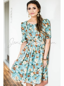 """Layla"" Modest Dress in Mint w/Floral Print"