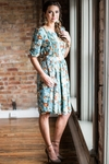 """Layla"" Modest Dress in Sage w/Floral Print - doubles as Nursing Dress"