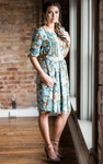 """Layla"" Modest Dress in Sage w/Floral Print"