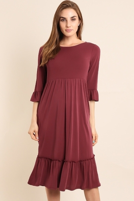 Leah Modest Midi Dress w/Bell Sleeves & Ruffle Hem in Burgundy Wine